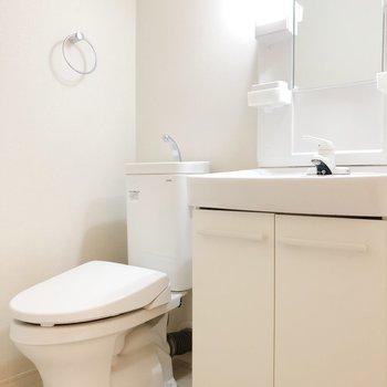洗面台の横にはトイレ。スグに手が洗えます。