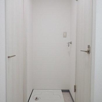 洗濯機置場は左側。右の扉を開くと、、、※写真は1階の同間取り別部屋のものです