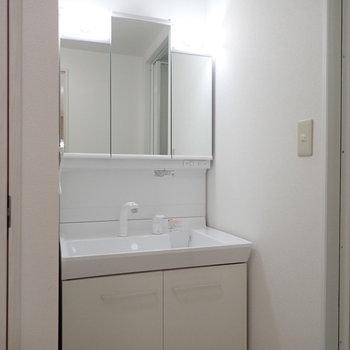 洗面台は多機能です。※写真は1階の同間取り別部屋のものです