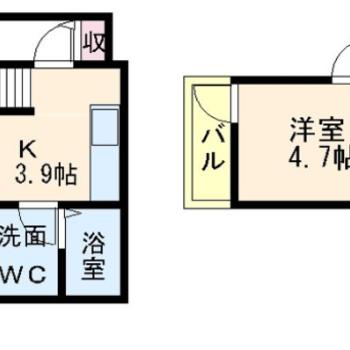 ひとり暮らしにピッタリな1DKのお部屋。(※図は反転間取りのものです)