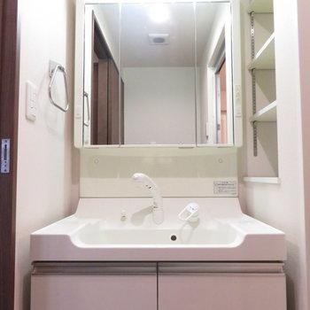 たくさんの収納の洗面台(※写真は7階の同間取り別部屋のものです)