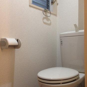 窓付きのトイレ。 (※写真は3階同間取り別部屋、清掃前のものです)