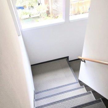 共用部】こんな階段で2階まで。