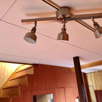照明の無骨さがお部屋を引き立てます。(※写真は同タイプ別部屋、清掃前のものです)