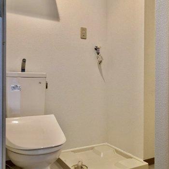 扉を開け得てすぐはトイレと洗濯機置き