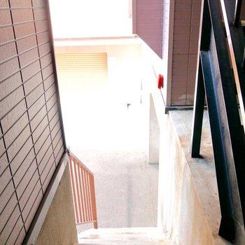 階段をトコトコ上り下りして。