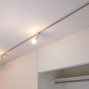 収納の上側にライティングレール。※写真は2階の同間取り別部屋のものです