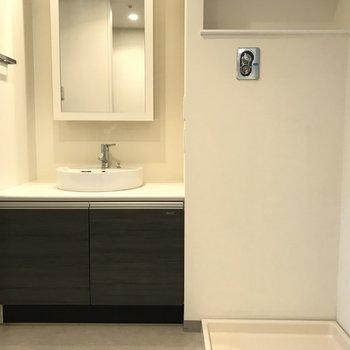 洗面台の横が洗濯機※写真は同間取り別部屋です