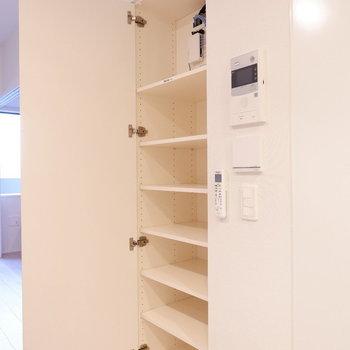 リビングの収納棚は本棚代わりにも良さそう。