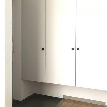 玄関にはシンプルな雰囲気の収納もあります。※写真は1階の反転間取り別部屋のものです