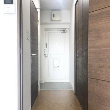 玄関周りへ。まずは左の扉から