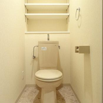 トイレ広い!収納スペースもたっぷりで助かります◎