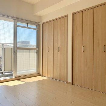隣は6帖の洋室。ご覧の通り収納が一面に。
