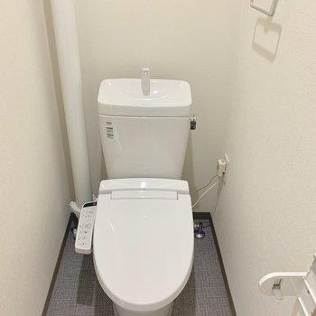 トイレはもちろんウォシュレット。白で塗られた配管がクリーンな雰囲気。