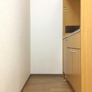お1人様が通れるスペースですね。(※写真は3階の同間取り別部屋のものです)