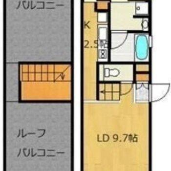 1LDKの広々なお部屋ですよ〜