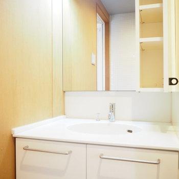 洗面台も綺麗〜※写真は2階の反転間取り別部屋のものです