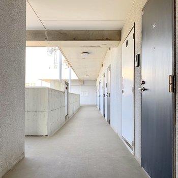 共用廊下もスッキリと。少々エレベーターまで距離あります。
