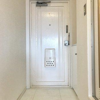玄関は、廊下との段差がほとんどないので砂ぼこりなどにご注意を。※写真は5階の反転類似間取り、別部屋のものです。