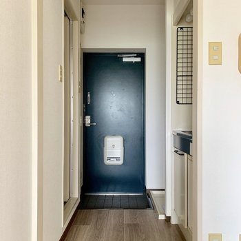 コンパクトな玄関です※写真は通電前のものです