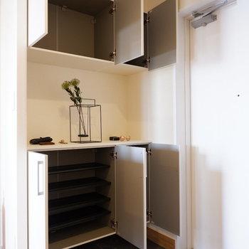 靴もたっぷり収納できますね※家具はサンプルです