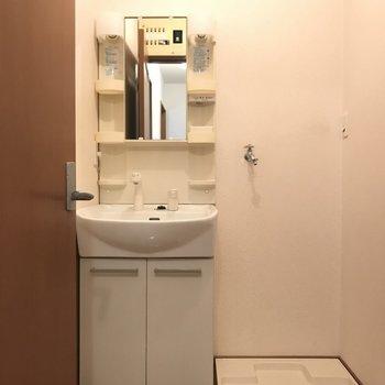 脱衣スペースは小さめ(※写真は1階の反転間取り別部屋のものです)