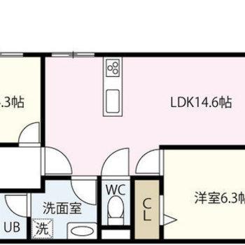 対面式キッチンのある2LDK。