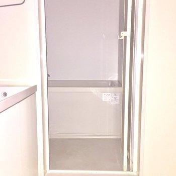脱衣所は狭めです※写真は2階の同間取り別部屋、通電前のもので、フラッシュを使用しています