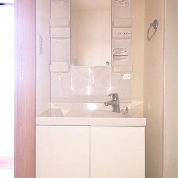 洗面台は収納たっぷり!※写真は2階の同間取り別部屋、通電前のもので、フラッシュを使用しています