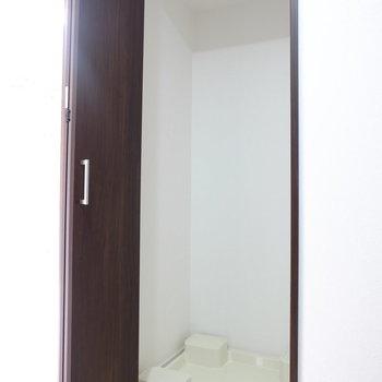 廊下部分に扉付きの洗濯機置き場