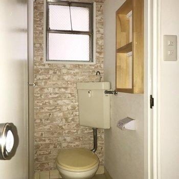 トイレのちょっとした棚には小物を飾りたいなぁ。 (※写真は清掃前、通電前のものです)