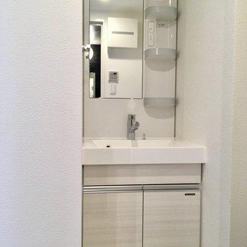 サニタリー入って左に洗面台。※写真は2階の反転間取り別部屋のものです