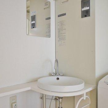 こじんまりとした洗面台。※写真は205号室のもの
