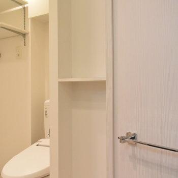 洗面所にも収納が(※写真は3階の同間取り別部屋のものです)