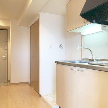 手前からキッチン・洗濯機置場・クローゼット、一番奥が玄関と一直線な配置。