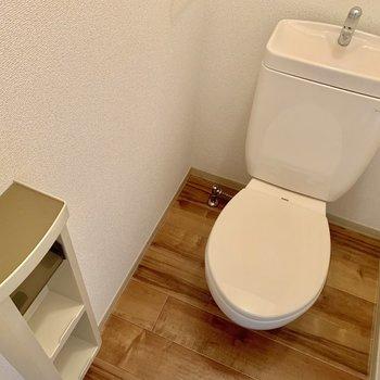 お手洗い。上に棚があるほか、手前にもちょっとした収納が