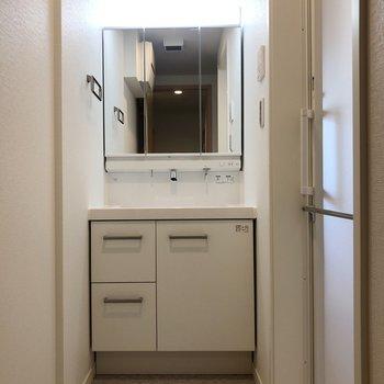 脱衣所には洗面台※写真は2階の反転間取り別部屋のものです