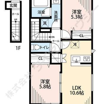 洋室が2つある2LDKのお部屋。