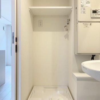 左手には洗濯機置場。上の棚に感謝。