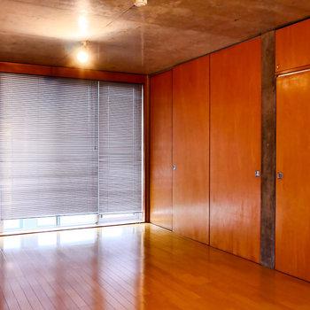 壁一面収納の反対側を開くと、