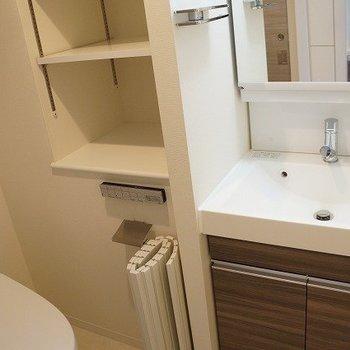 大きな洗面台と大容量収納。※写真は10階の反転間取り別部屋のものです