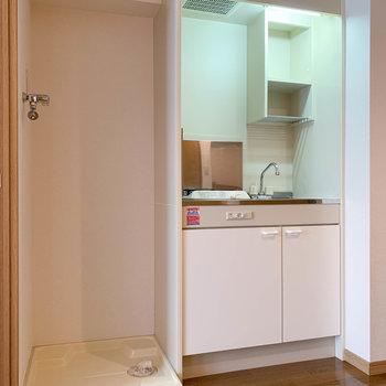 キッチンの左に洗濯機置き場。