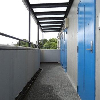 雨の日だって青空を感じられるような空色の扉。
