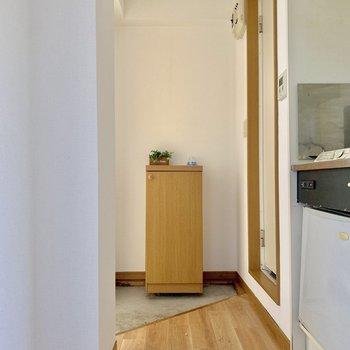 玄関の雰囲気がいい。※写真は1階の同間取り別部屋のものです