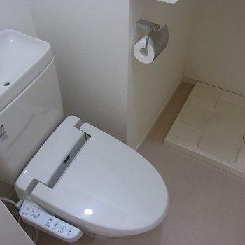 トイレの奥が洗濯機置き場。※写真は1階の同間取り別部屋のものです