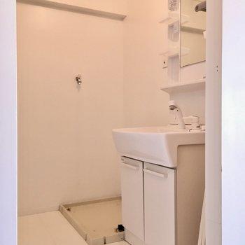 洗面台は綺麗め。奥には洗濯機置き場です。