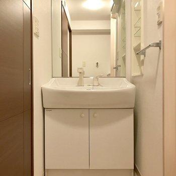 横に物が置けるからこちらも鏡が大きい!※写真は2階の同間取り別部屋のものです