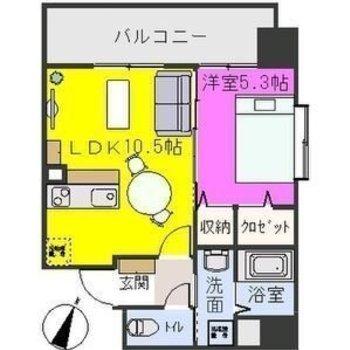 この位置にソファを置くと部屋を分けやすいですね!