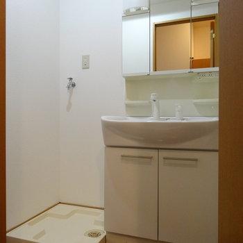 脱衣所には洗濯機置場と洗面台。洗面台広々♪