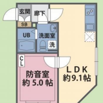 防音室がある1LDKのお部屋です